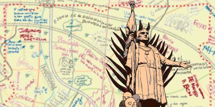 Fragmento de una ilustración del mapa y del mapa mismo.
