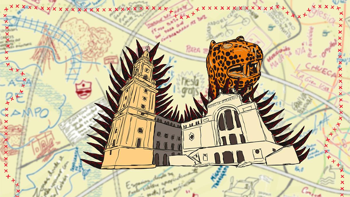 Ilustración basada en el museo de América con el mapa de fondo