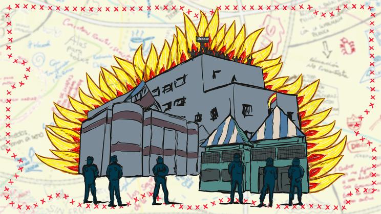 Ilustración basada en el CIE en llamas con el mapa de fondo