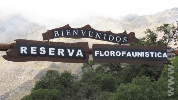 Cartel entrada Reseva Florofaunistica de Merlo