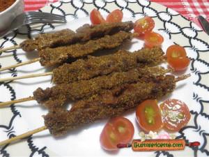 arrosticini impanati al berbere, dal gusto particolare ma buoni