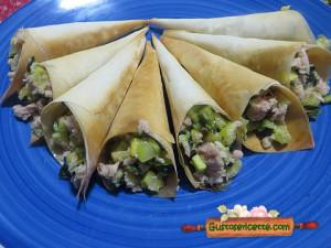 coni pasta phillo zucchine e tonno, appetitosi e facili da preparare