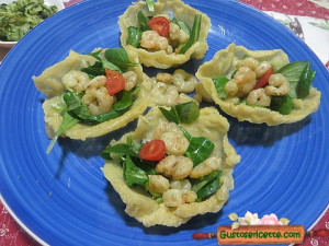 Cestini parmigiano valeriana gamberetti