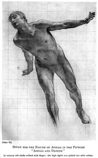 """Plate VII. STUDY FOR THE FIGURE OF APOLLO IN THE PICTURE """"APOLLO AND DAPHNE"""" In natural red chalk rubbed with finger; the high lights are picked out with rubber."""