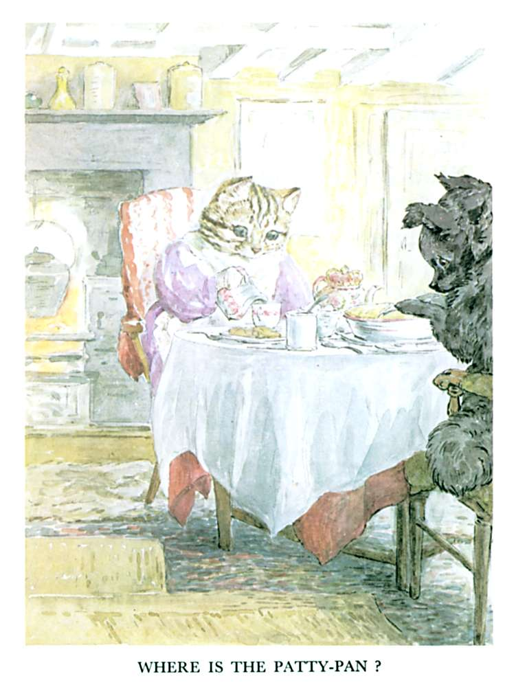 Cat and dog at a tea table