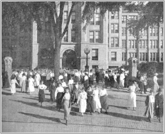 Employees leaving the Elgin Watch Company factory