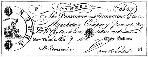 Three No 6627 The President and Directors of the Manhattan Company promise to pay D. W. Cantor or bearer 3 dollars on demand. New York. Nov 7 1800. Three Dollars.  MANHATTAN COMPANY CURRENCY