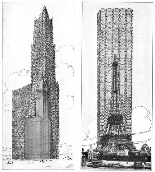THE WORLD'S COFFEE TOWER COMPARED WITH THE EIFFEL AND WOOLWORTH TOWERS