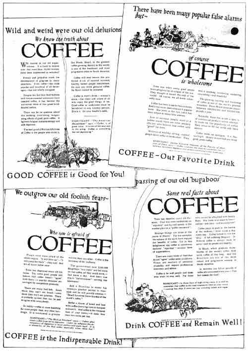 COPY THAT STRESSED THE HEALTHFULNESS OF COFFEE, 1919–1920