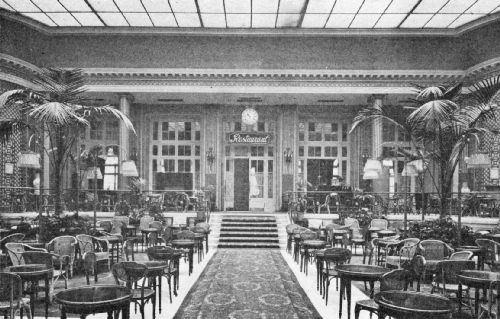 Palm Court in the Waldorf Hotel—A Popular Resort for American Travelers