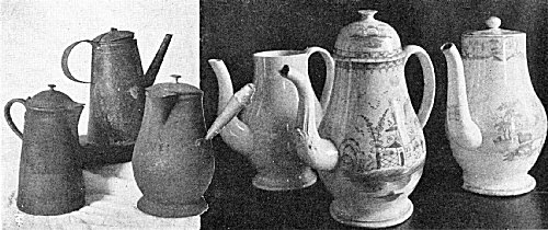Metal and China Coffee Pots Used in New England's Colonial Days