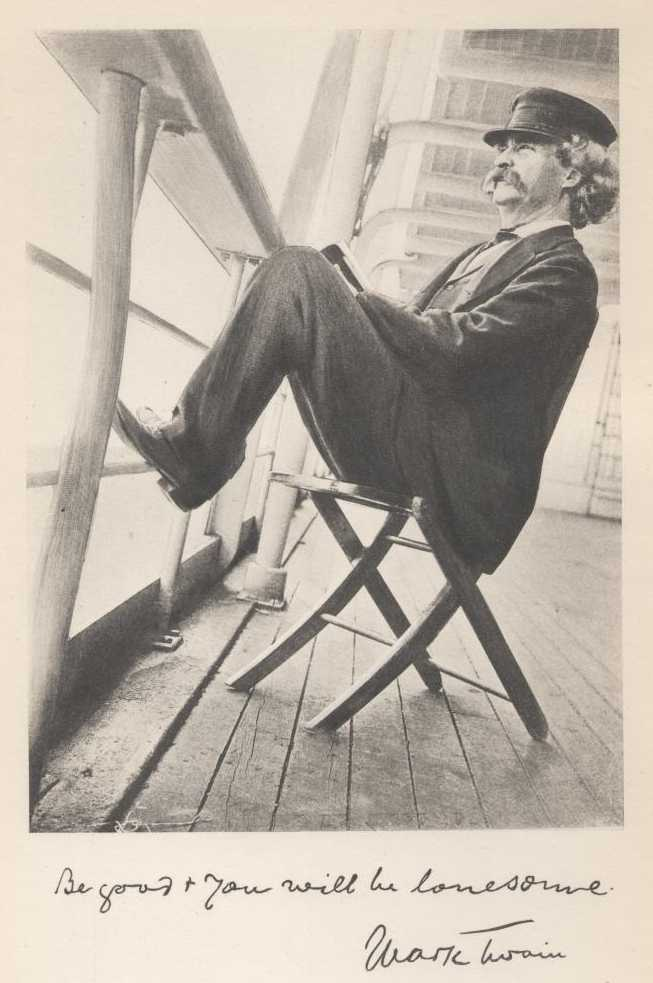 Mark Twain, aboard ship, 1896; photo by Walter G. Chase of Boston