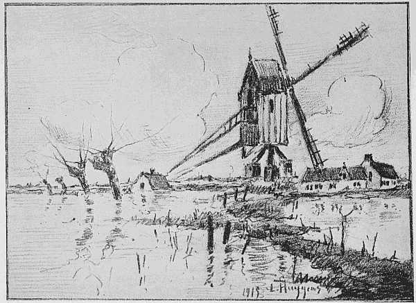 THE INUNDATION. OLD MILL AND FARMS ON THE YSER