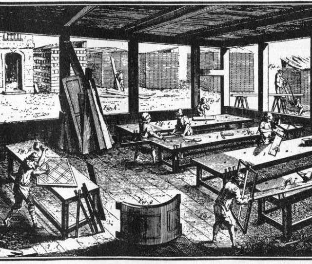 This Illustration From Diderots Famous Eighteenth Century Encyclopedia Of The Arts And Sciences Shows The Interior And Lumber Yard Of A Large European
