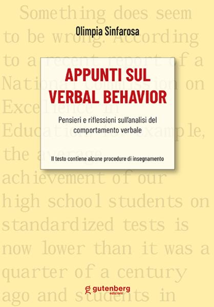 copertina del libro di Olimpia Sinfarosa - appunti sul verbal behavior