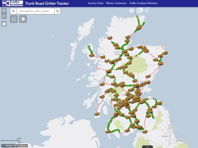 Scotland Trunk Road Gritter Tracker