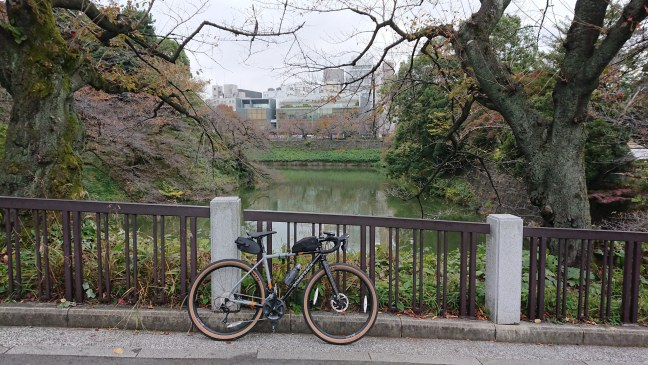 Bicycle in front of the moat at Budokan