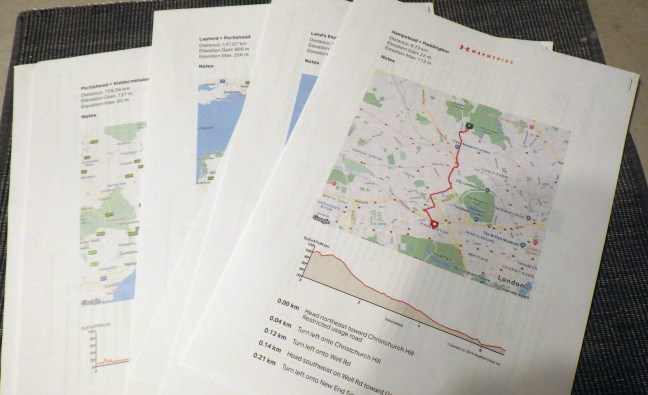 Pages of printed maps and directions