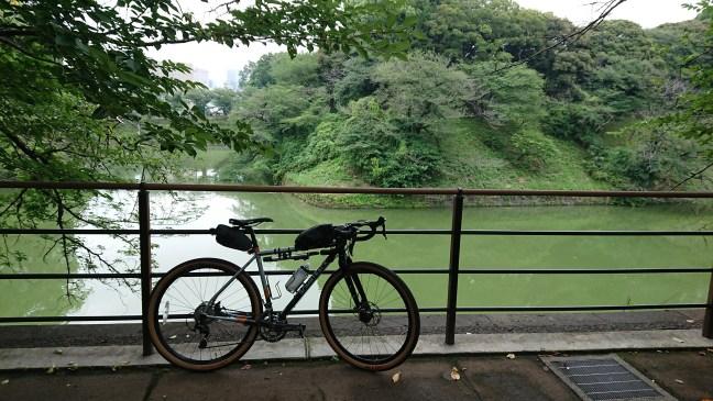 Bicycle leaning on railing overlooking Chidorigafuchi