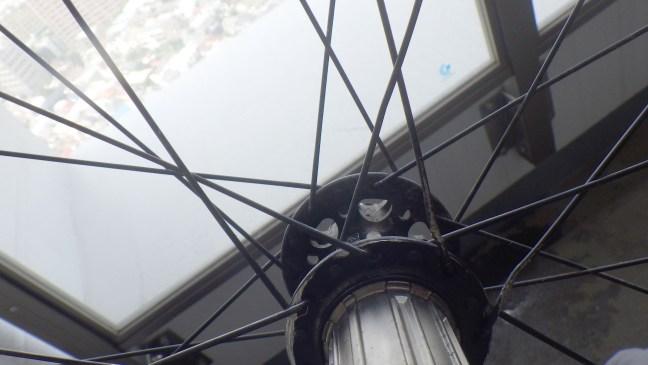 Bicycle hub showing mangled spokes