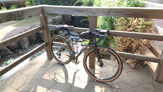 Bicycle leaning against a wooden railing overlooing a reflecting pond