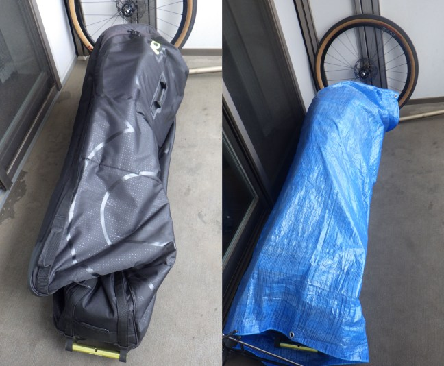 Evoc bike bag, ready for storage and wrapped in tarp