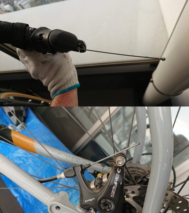 Composite photo showing brake cable feeding in through the brake lever (above) and emerging from the housing at the rear disc brake (below)