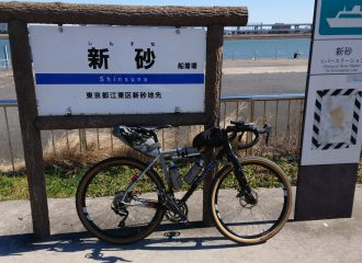 Bicycle leaning against sign for Shinsuna River Station