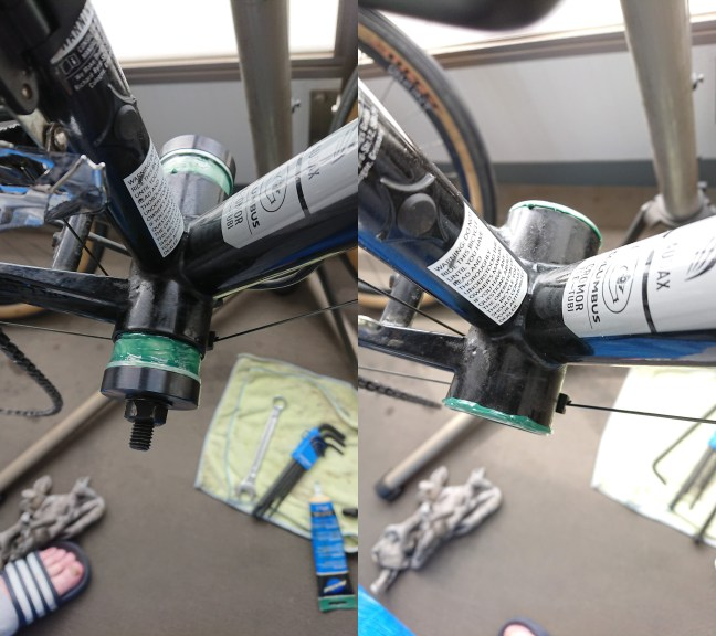 Photos showing a bottom bracket being pressed into a bicycle frame