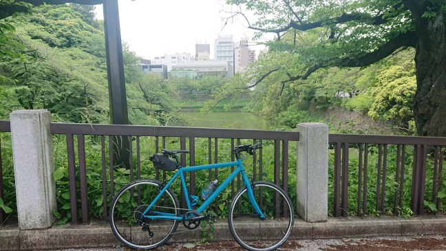 Bicycle against railing overlooking moat with greenery