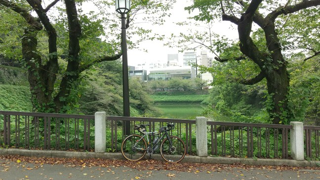 Bicycle propped against bannister between trees overlooking moat