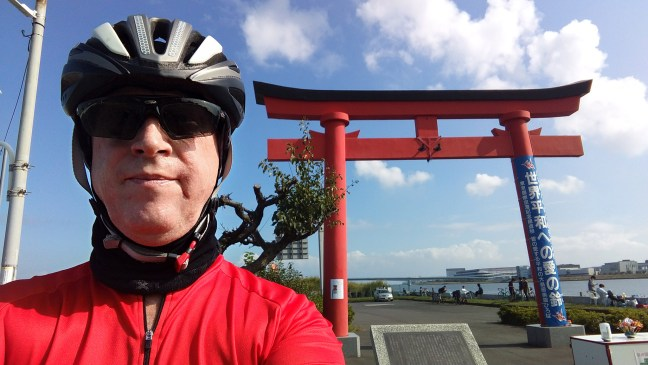 Selfie of cyclist in front of Haneda Peace Shrine