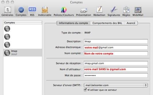 Imap Gmail sur Mail