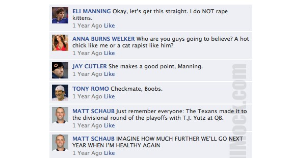 NFL QB's on Facebook Flash Back To a Year Ago