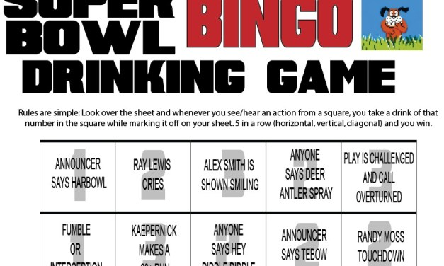 SuperBowl Bingo Drinking Game That Involves Ray Lewis Crying and Alex Smith Smiling