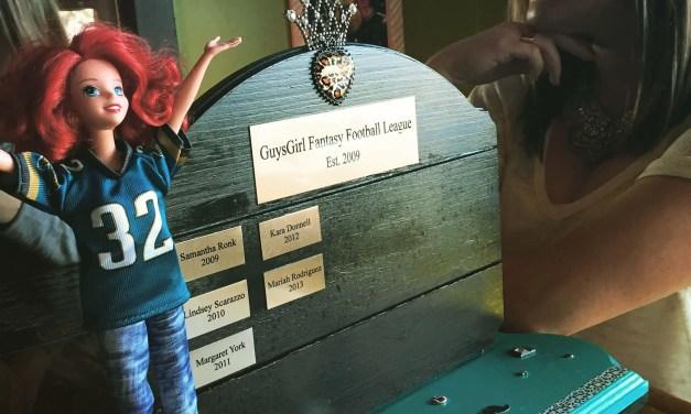 DIY women's fantasy football trophy