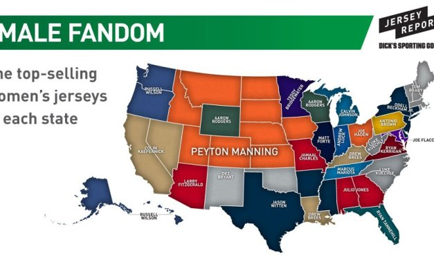This map reveals the top selling NFL jerseys for female fans