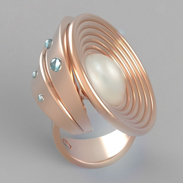 Francy's Flower – 14k Pink Gold, Mabè Pearl and Aquamarine