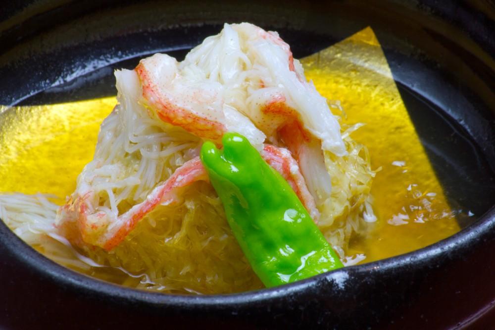 自家製豆腐と和風湯葉シューマイ(嵯峨野)