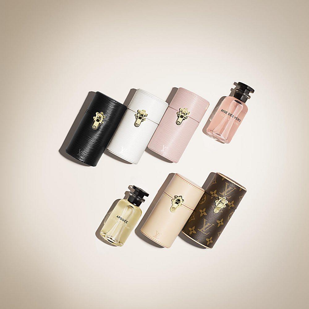 ルイヴィトンの100mL香水用トラベルケース シグニチャーモノグラムキャンバス($420.00) Épi(エピ)レザー(各$450.00/ブラック、ホワイト、ローズバレリン)
