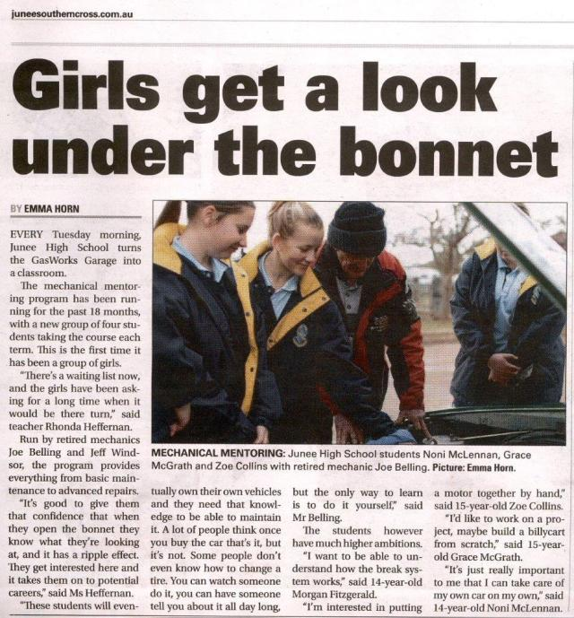 Girls get a look under the bonnet Page 3 of the Junee Southern Cross  August 09, 2018