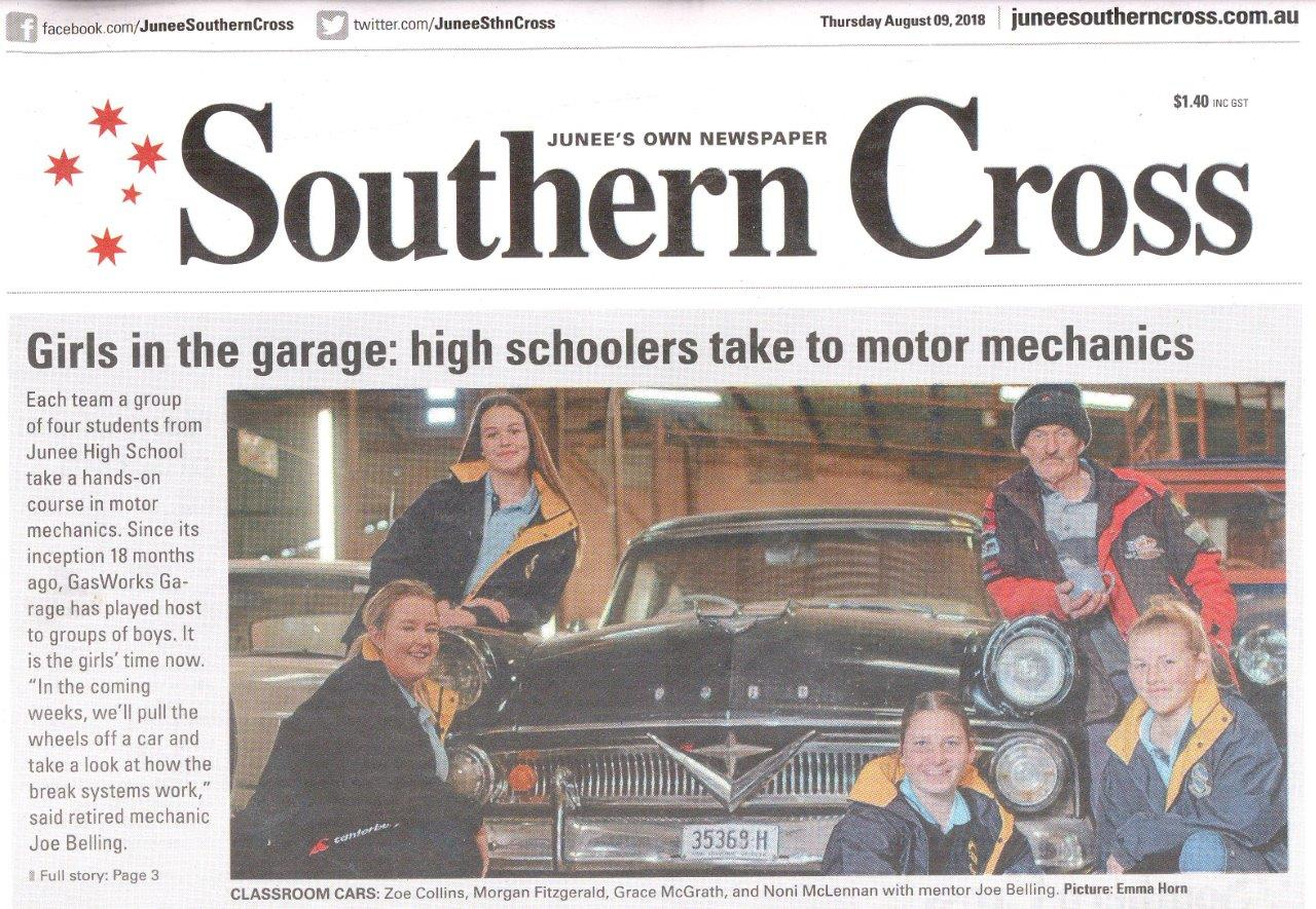 Girls in the garage: high schoolers take to motor mechanics Front Cover of the Junee Southern Cross August 09, 2018
