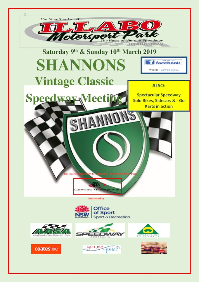 Shannons Classic Vintage Speedway March 10, 2019 Poster