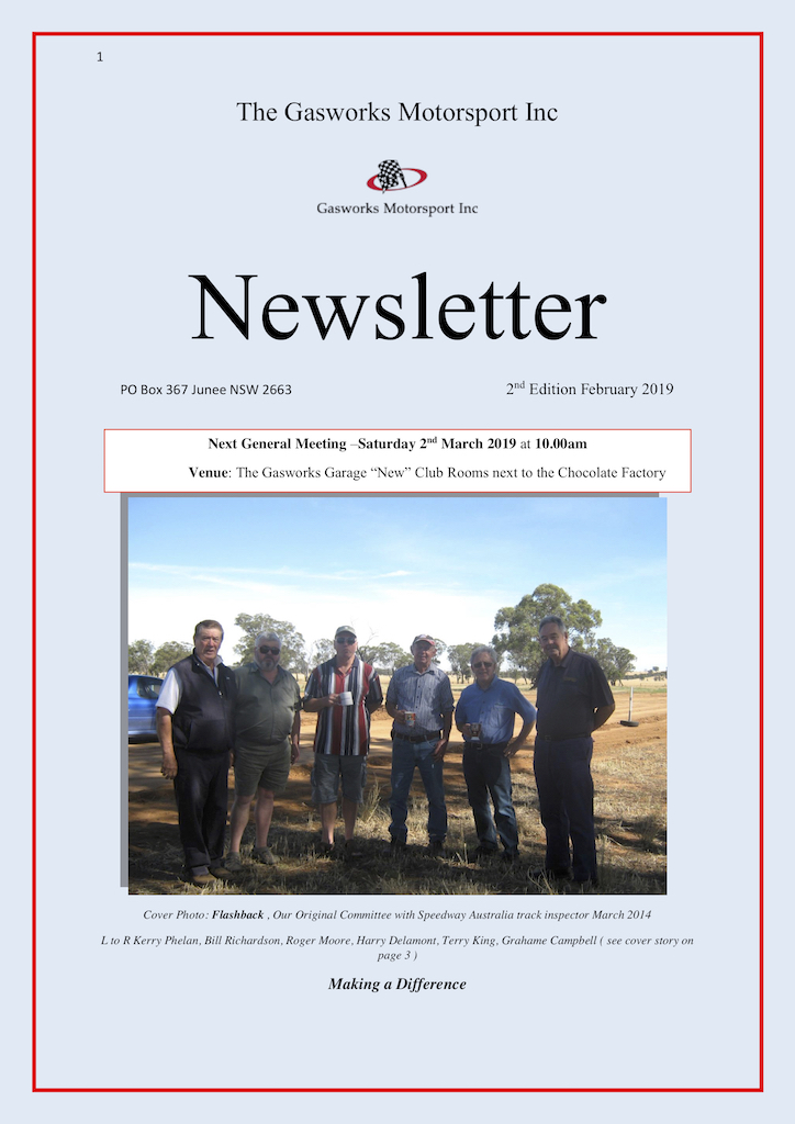 The Official Newsletter of the Gasworks Car Club Junee NSW Issue 002 (February 2019) Cover