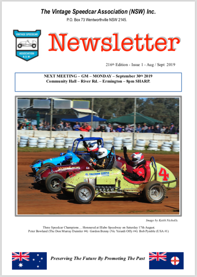 Vintage Speedcar Association (NSW) Aug-Sept 2019 Newletter Cover
