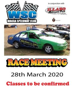 Wagga Speedway Club Race Meeting 28 March 2020 Flyer