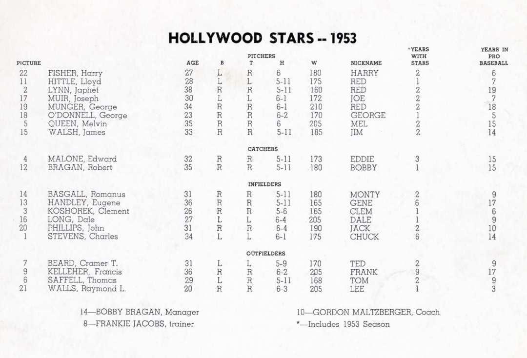 Hollywood Stars 1953 Team b