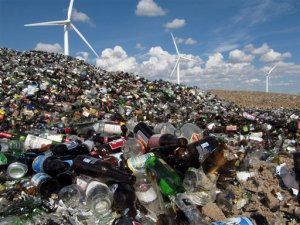 In this Sept. 15, 2009 photo, discarded glass piling up at the Cheyenne, Wyo., landfill is shown. The city continues to struggle to find a market for the jars and bottles it collects for recycling.  (AP Photo/Mead Gruver)