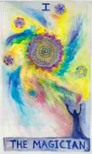 The Magician, Tarot card in watercolor by Gwendolyn Womack, author of The Fortune Teller