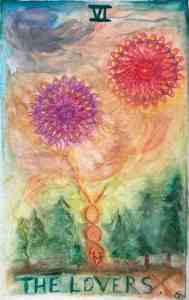 The Lovers, Tarot card in watercolor by Gwendolyn Womack, author of The Fortune Teller